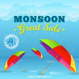 Composição de venda de temporada de monção com design realista
