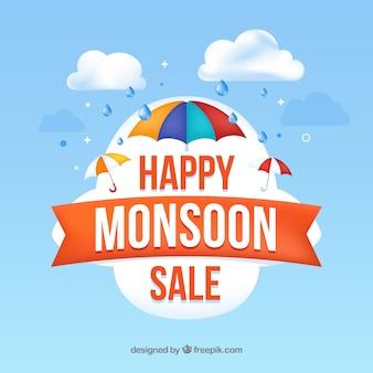 Composição de venda de temporada de monção realista