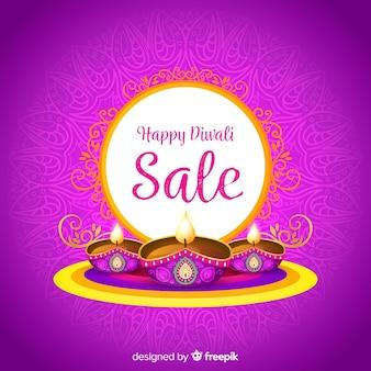 Composição de venda diwali colorido com design plano