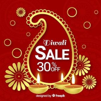Composição de venda diwali colorido com design realista