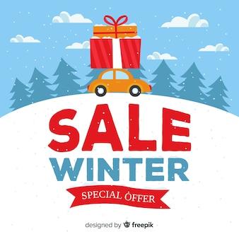 Composição de venda linda de inverno com design plano