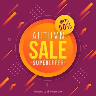 Composição de venda outono com design plano