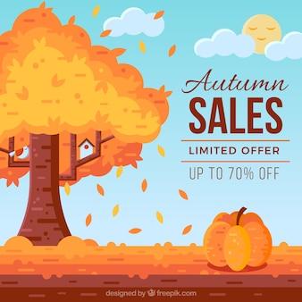 Composição de venda outono moderna com estilo encantador