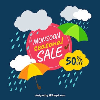 Composição de venda temporada de monções com design plano