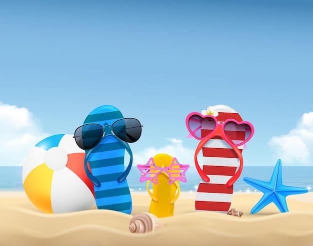 Composição de verão com bola de óculos de sol de sandálias de tanga familiar coloridas na praia realista