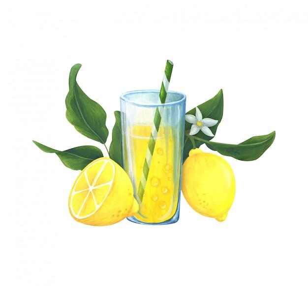 Composição de verão com uma bebida refrescante de limão de cor amarela.
