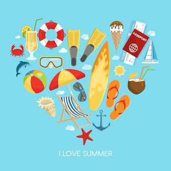 Composição de verão coração