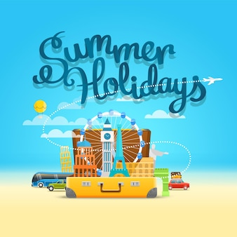 Composição de viagem de férias com o saco aberto. conceito de férias de verão
