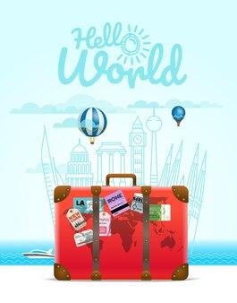 Composição de viagem de férias com o saco. conceito olá mundo
