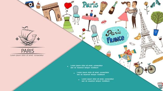 Composição de viagem para paris desenhada à mão