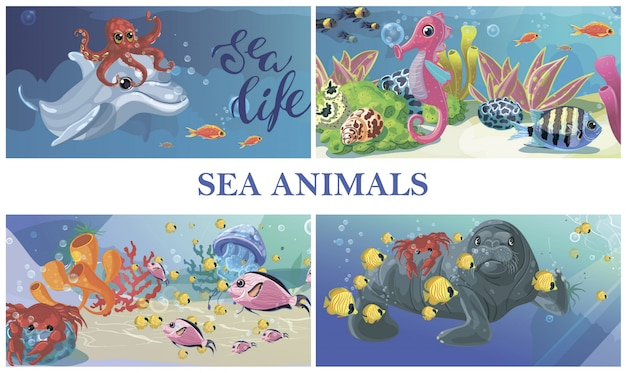 Composição de vida subaquática do mar dos desenhos animados com selo de cavalo-marinho polvo golfinho água-viva caranguejo peixes algas