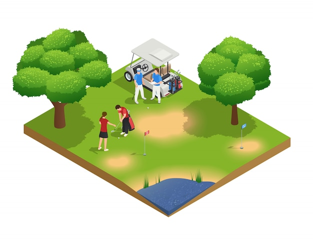 Composição de vista superior isométrica do campo de golfe verde com pessoas de golfe e de pé perto de carrinho