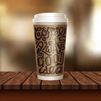 Composição de xícara de café para viagem