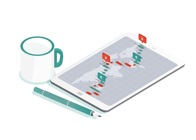 Composição decorativa com tablet pc e mapa mundial