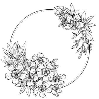 Composição desenhada à mão de flores de rododendro preto e branco