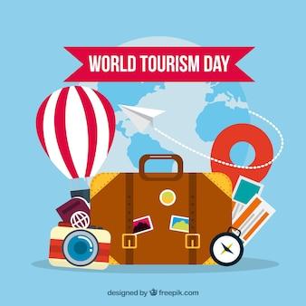 Composição divertida do dia do turismo mundial
