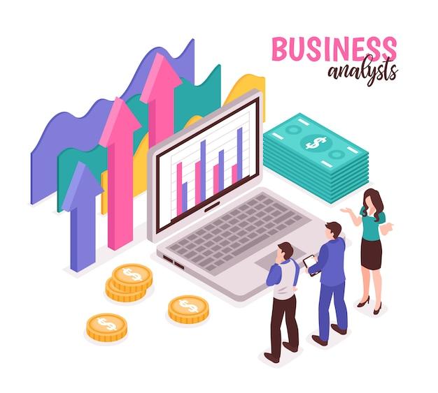 Composição do analista de negócios com diagramas de dados e estatística isométrica