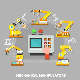 Composição do braço robótico com dispositivos técnicos amarelos