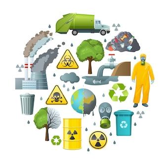 Composição do círculo de poluição ambiental
