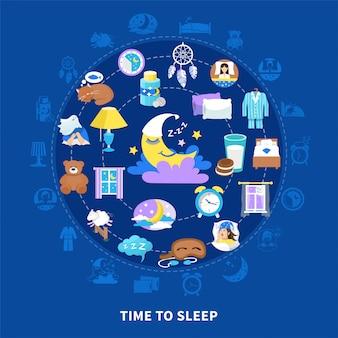 Composição do círculo plano de tempo para dormir