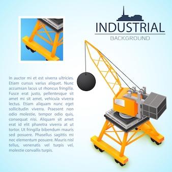 Composição do conceito de construção 3d com página para apresentação ou flyer com título de fundo industrial e lugar para texto