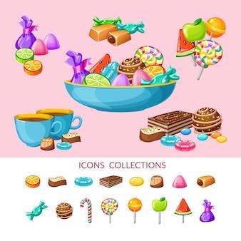 Composição do conjunto de ícones de doces doces