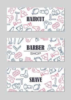 Composição do conjunto de ícones para a barbearia.