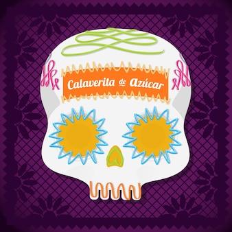 Composição do crânio de açúcar mexicano - espaço para cópia