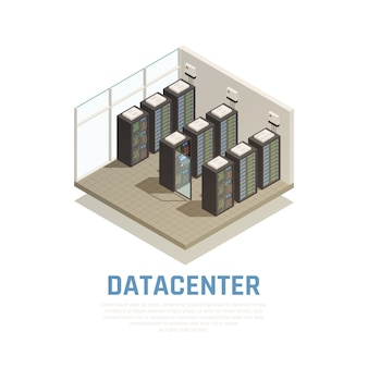 Composição do datacenter com símbolos de armazenamento de informações e banco de dados isométricos
