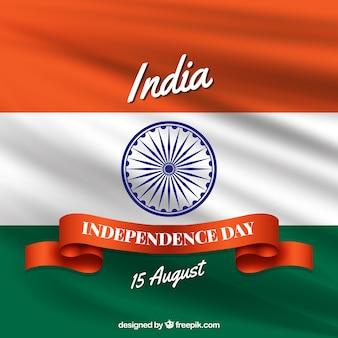 Composição do dia da independência de india com bandeira realística