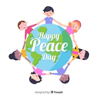 Composição do dia da paz com as crianças de mãos dadas ao redor do mundo