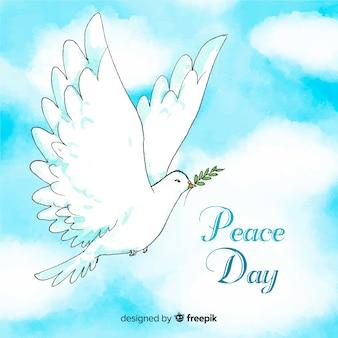 Composição do dia da paz com pomba branca em aquarela