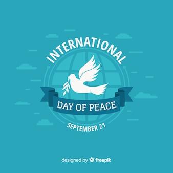 Composição do dia da paz com pomba branca plana