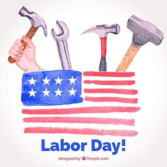 Composição do dia do trabalho americano com estilo aquarela