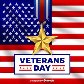Composição do dia do veterano com bandeira realista