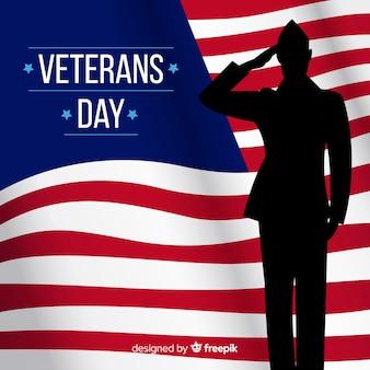 Composição do dia do veterano com silhueta de soldado