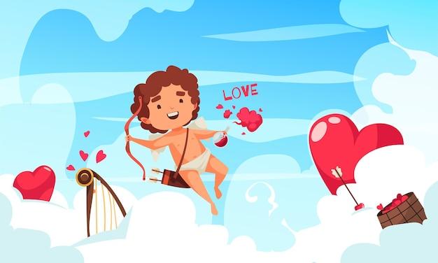 Composição do dia dos namorados do cupido de amur com personagem de amoretto voando entre nuvens, corações vermelhos e harpa