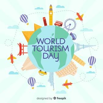 Composição do dia mundial do turismo moderno com design plano