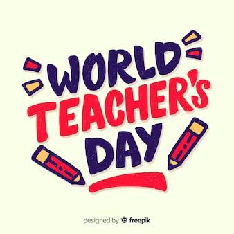 Composição do dia mundial dos professores com tipografia moderna