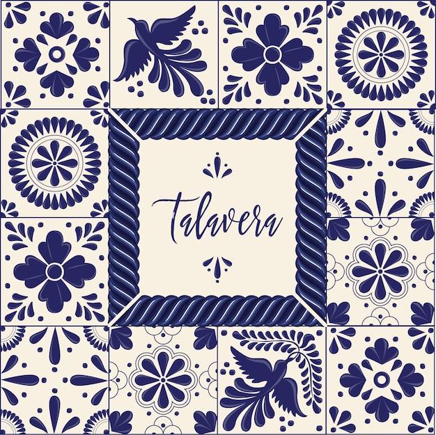 Composição do espaço para cópia do estilo mexicano talavera