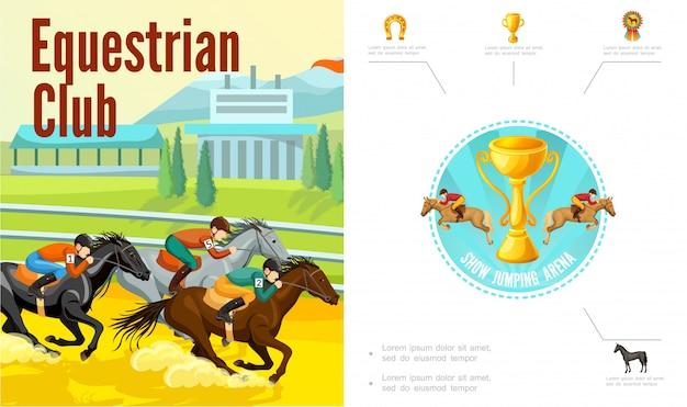 Composição do esporte equestre dos desenhos animados com jóqueis, montando cavalos troféu copa ferradura medalha