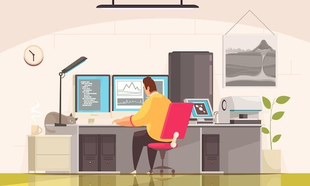 Composição do geólogo com vista interna da sala com caráter de doodle do cientista processando os resultados do exame