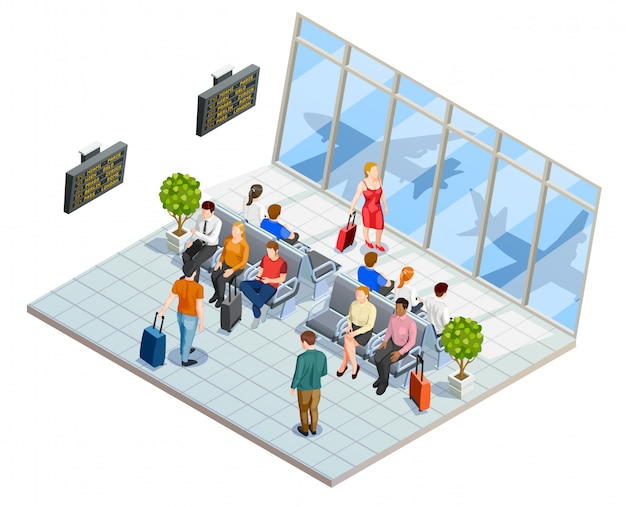 Composição do hall de espera do aeroporto
