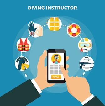 Composição do instrutor de mergulho