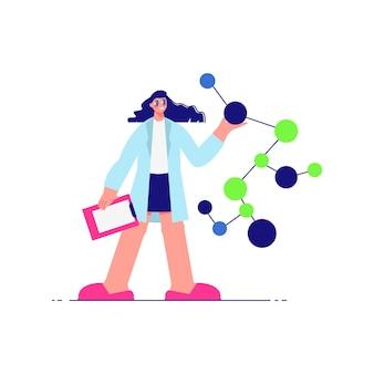 Composição do laboratório de ciências com personagem feminina de cientista com moléculas