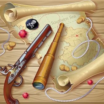 Composição do mapa pirático