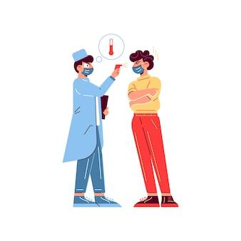 Composição do paciente do médico da medicina do hospital com caráter do médico que verifica a temperatura corporal do paciente