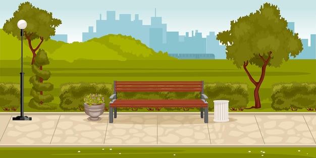 Composição do parque com paisagem ao ar livre do parque da cidade com pista de colinas verdes com banco e ilustração da paisagem urbana