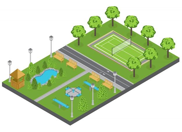 Composição do parque de subúrbio com lagoa de árvores e campo de esportes isométrico