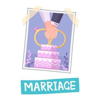 Composição do quadro de visão com foto de mãos dadas com bolo e ilustração de texto